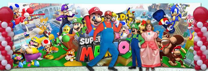 scenografia per festa di compleanno di Mario bros